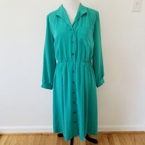 VINTAGE Petites by Willi Long Sleeve Aqua Dress